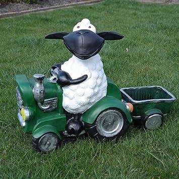 Schaf Molly Auf Traktor Zum Bepflanzen Tierfigur Deko Garten