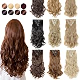 S-noilite 3-6 Days Delivery Thick Full Head 8 Pcs 18 Clip in Hair Extensions Kanekalon Synthetic Straight Curly Hairpieces Party Highlights Pure Dip Dye Ombre Color for Girls Women