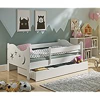 KATIDO Kinderbett Massivholz Mond und Sterne Weiß 140x70 oder 160x80 Matratze Schublade Lattenrost