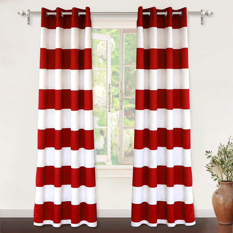 DriftAway Mia Stripe Room Darkening Grommet Unlined Window Curtains 2 Panels Each 50 Inch by 84 Inch Red