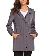 Women Waterproof Hooded Raincoat Active Outdoor Lightweight Packable Rain Coat Jacket