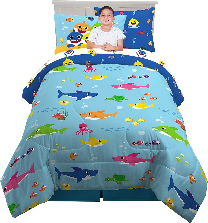 Franco Kids Bedding Super Soft Comforter and Sheet Set with Bonus Sham, 5 Piece Twin Size, Baby Shark