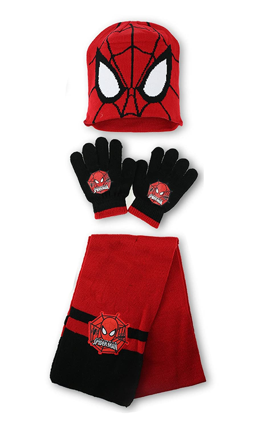 Boys Official Licensed Spiderman Gloves , Beanie Hat & Scarf Set One size 3-7 Years