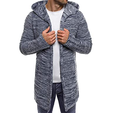 Bellelove Tricot à Capuche Long pour Hommes Tricotage en Tricot uni en Trench Coat Pull à Tricoter Veste Cardigan À Manches Longues Outwear Blouse