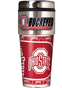 Great American Products NCAA Metallic Travel Tumbler, Stainless Steel and Black Vinyl, 16-Ounce