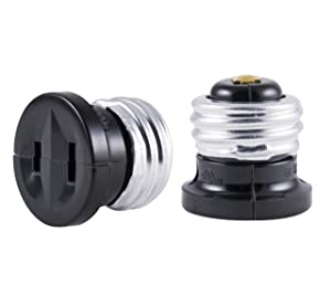 GE Polarized Handy Plug, 2 Pack, Bulb Adapter, Convert Light Socket to Outlet, Easy-to-Install, UL Listed, Black, 54276