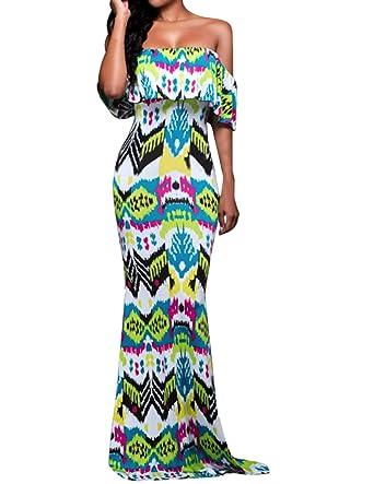 aca2823e63e8 Cekaso Women s Off Shoulder Dress Slim Fit Floral Printed Party Boho Maxi  Dress