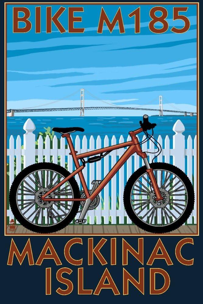Mackinac Island, Michigan - Mountain Bike Scene (9x12 Fine Art Print, Home Wall Decor Artwork Poster)