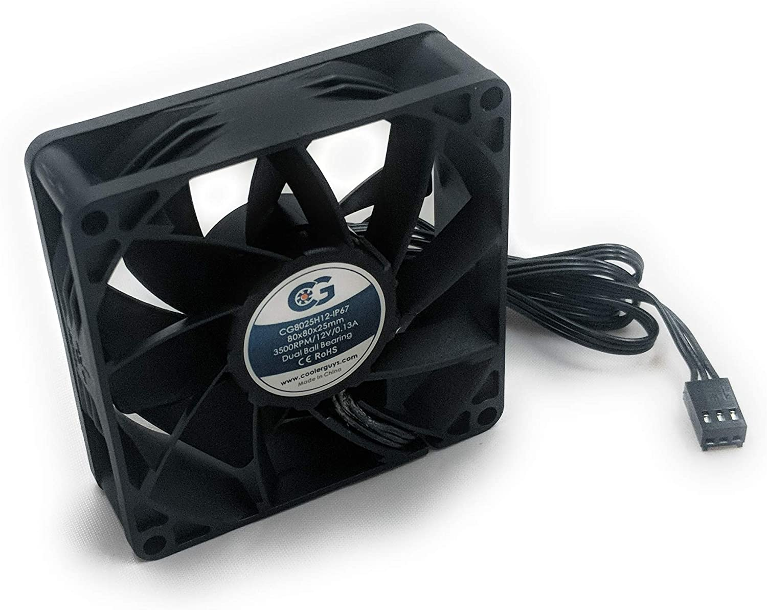 Coolerguys 80mm (80X80X25) High Airflow Waterproof IP67 12v Fan