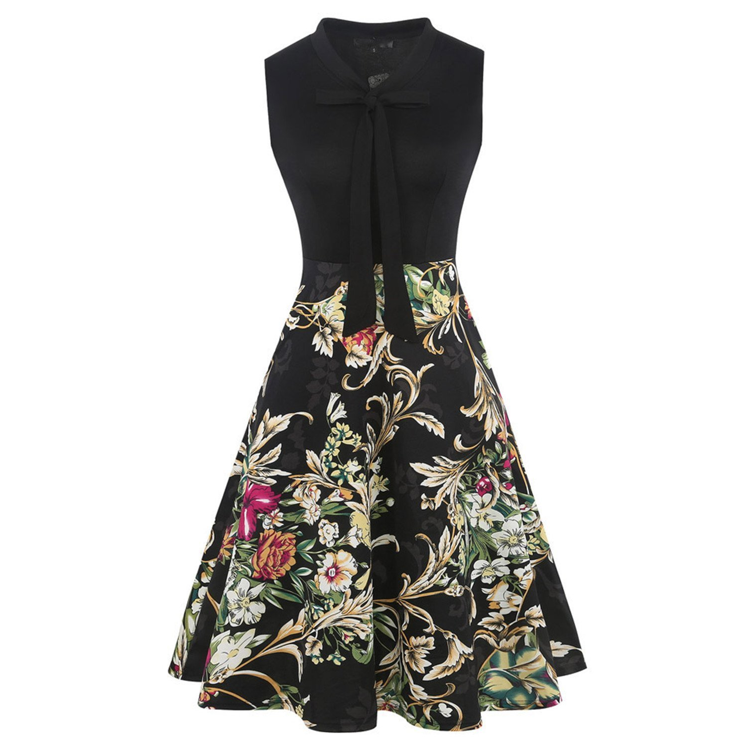 Black N colorful Fp Small Women Polkat Dot Multicolor Floral Dresses Sleeveless A Line Tie Neck Dress