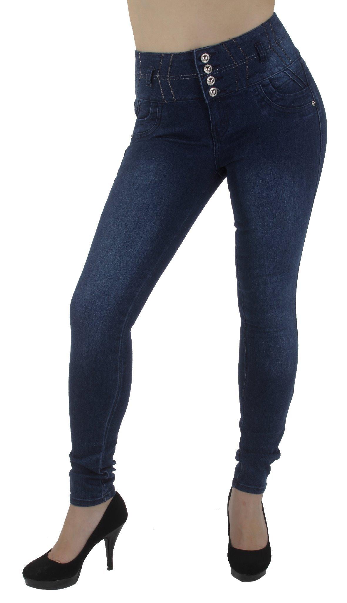 Crocker Style M1133 – Colombian Design, High Waist, Butt Lift, Skinny Jeans in Dark Blue Size 7