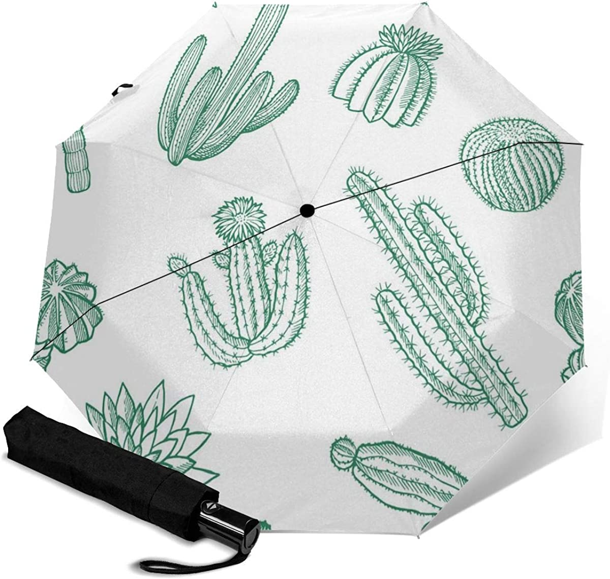 Green Fleshy Cactus And Other Plants Compact Travel Umbrella Windproof Reinforced Canopy 8 Ribs Umbrella Auto Open And Close Button Customized