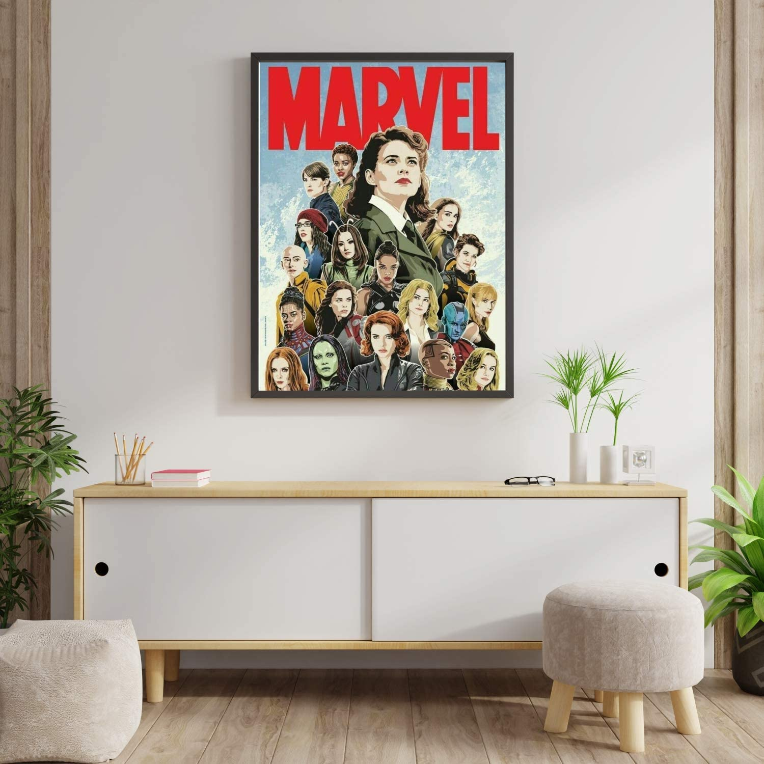 Compatible with Marvel Women Comic Superheroines Film Black Widow Scarlet Witch Gomora Poster Cool Guys Girls Dorm Wall Decor, Unique Design, Unframed Wall Art, Size - 11