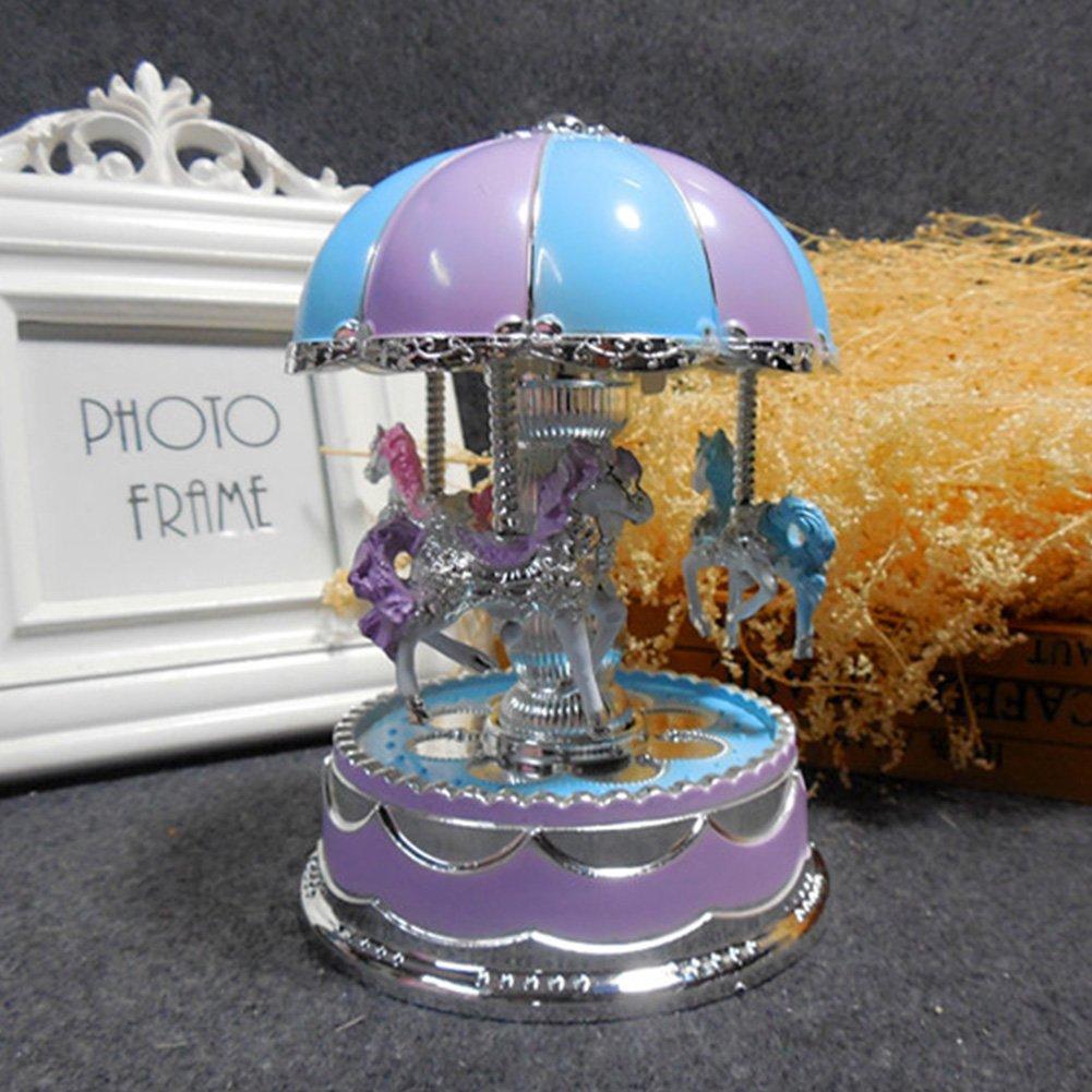 Fashionwu 3-horse Luminous Rotating Toys with Lights Music, Carrousel Music Box Gifts Decoration