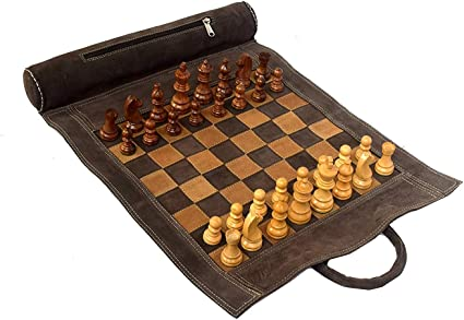 Sondergut Roll-Up Chess or Checkers Game Family Fun Travel Quality Easy Storage
