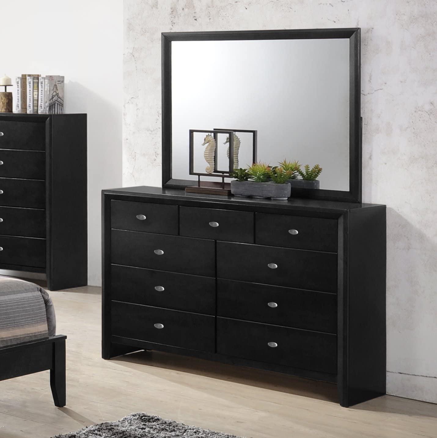 Gloria Black Finish Wood Dresser and Mirror - a good cheap bedroom dresser