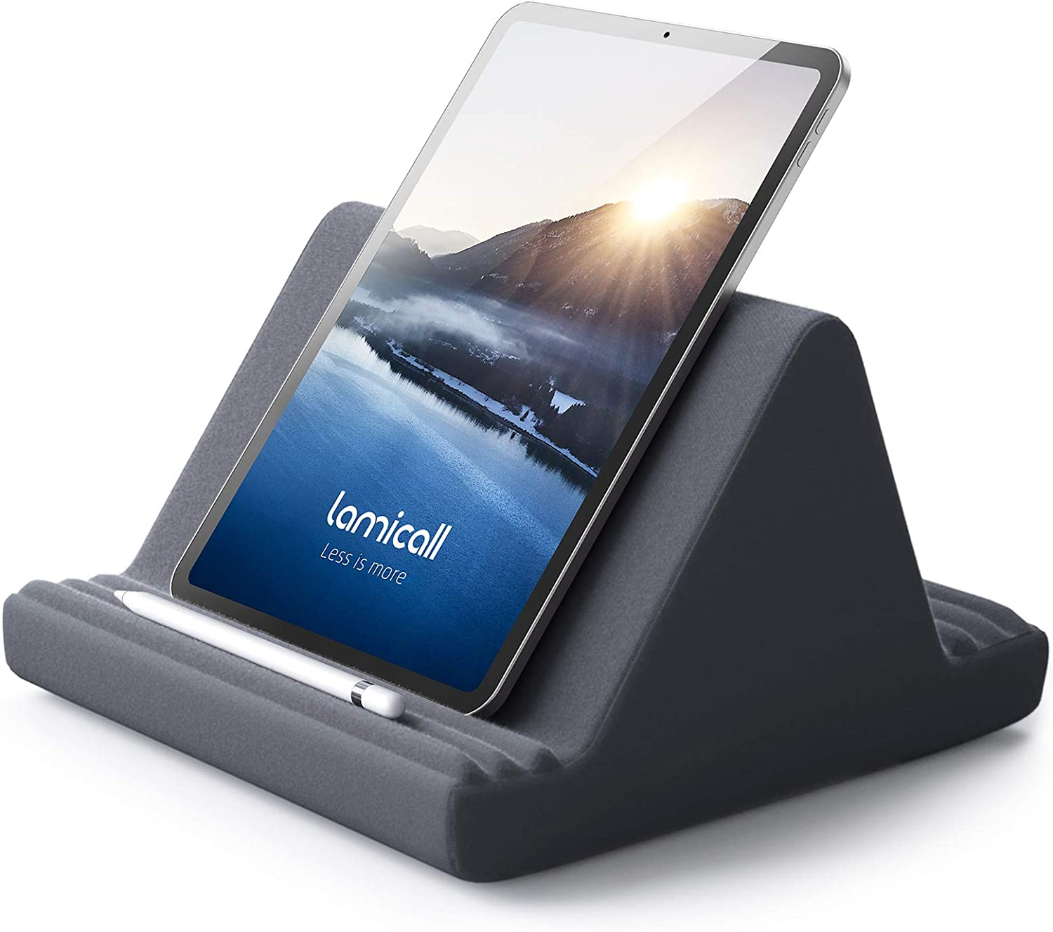 Tablet Pillow Stand, Pillow Soft Pad for Lap - Lamicall Tablet Holder Dock for Bed with 6 Viewing Angles, Compatible with iPad Pro 9.7, 10.5,12.9 Air Mini 4 3, Kindle, Galaxy Tab, E-Reader - Dark Gray