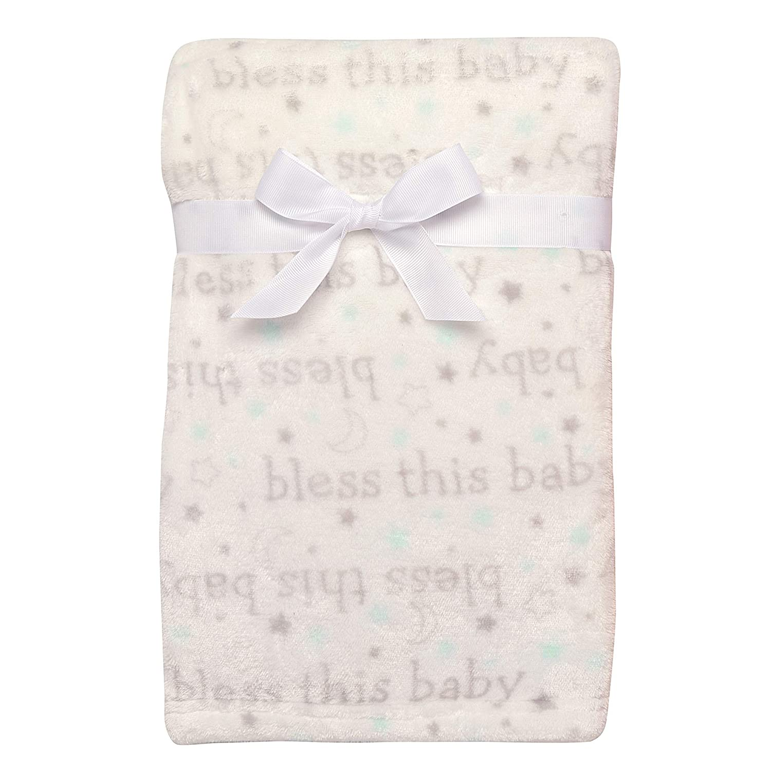 "Baby Starters Super Soft Bless This Baby Blanket for Newborns and New Moms (White and Grey, 30""x40"")"