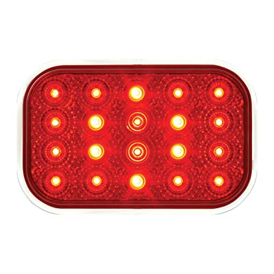 Grand General 76993 Rect. Spyder Flush Mount Red/LED with S.Rim & Pigtail, 1 Pack: Automotive