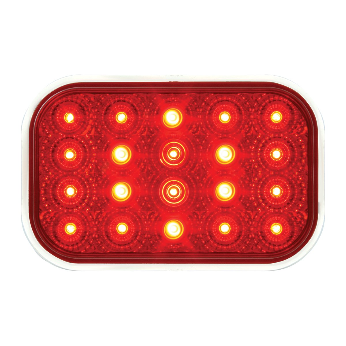 GG Grand General 76993 Rect. Spyder Flush Mount Red Led with S.S. Rim & Pigtail