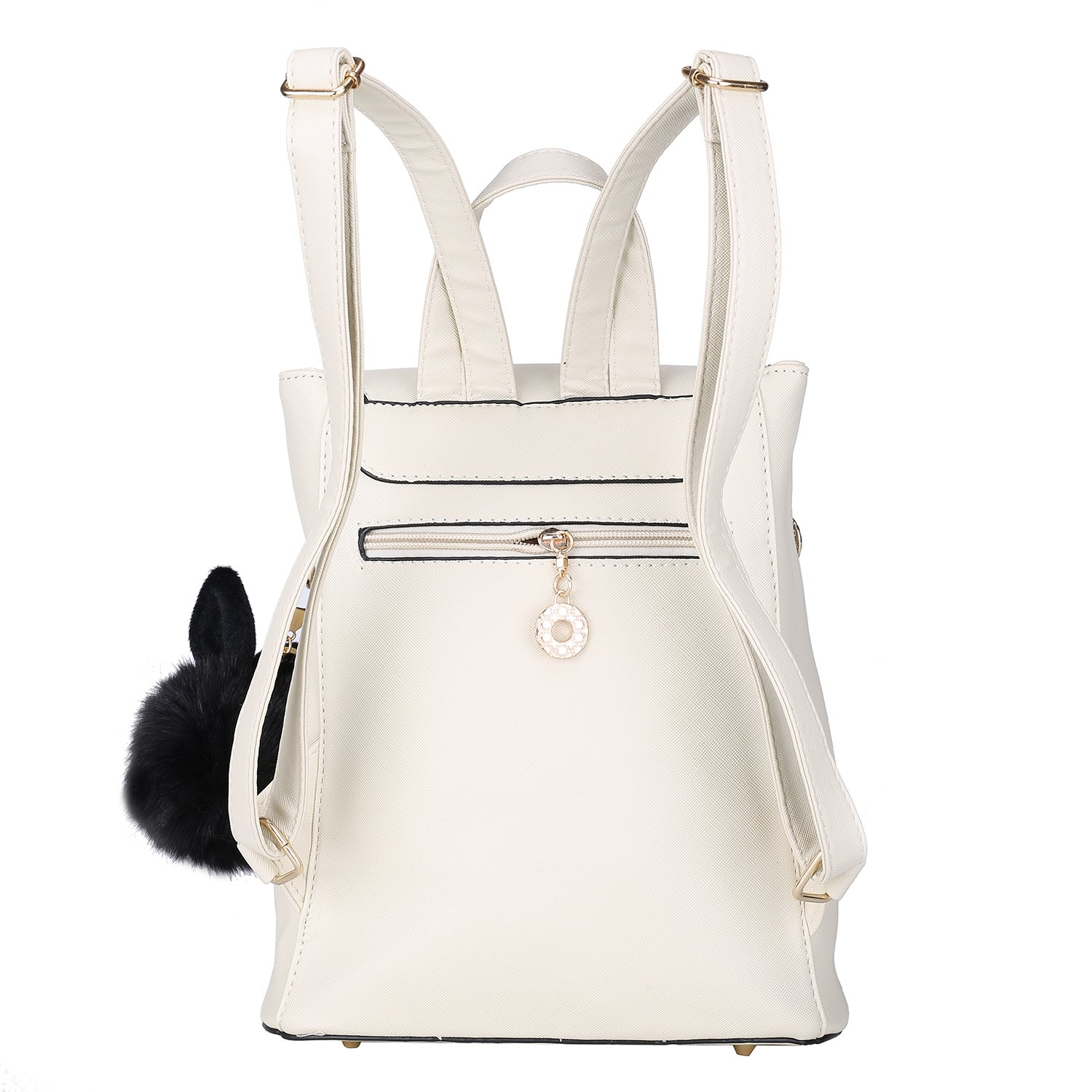 Leather Backpack for Women With Pom-Pom Girls Mini Casual daypack Backpack Purse (Ivory) by KOVI (Image #2)