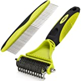 Pecute Grooming Dematting Comb Tool Kit - Double Sided Blade Rake Comb Grooming Comb - Removes Loose Undercoat, Knots, Mats and Tangled Hair
