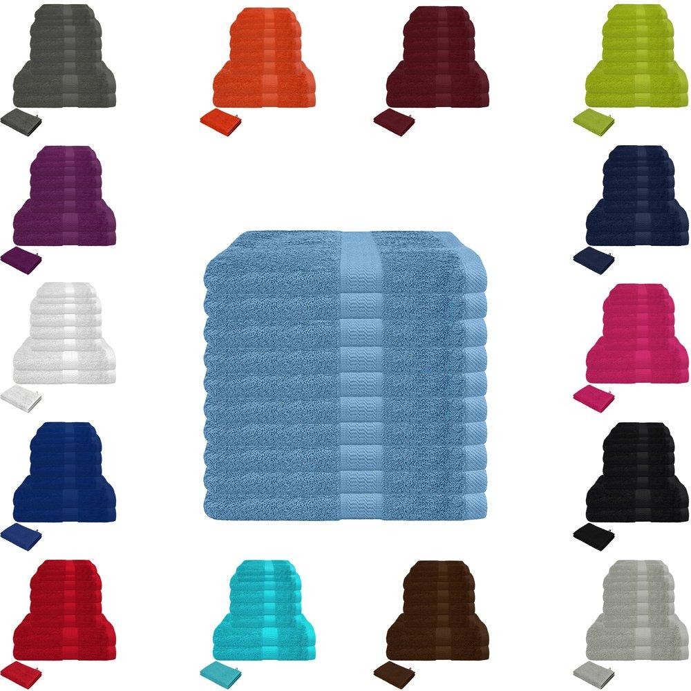 Set di 10 asciugamani in spugna 500g/mq,varie dimensioni e colori, in cotone al 100% , Cotone, Anthrazit, 10er Handtuch-Sparpack Falco