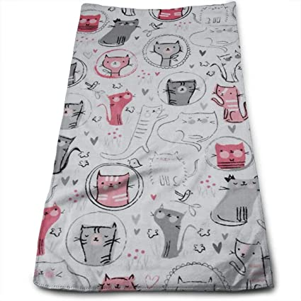 808af60f77d55 Amazon.com: CHJOO Towel Whiskers Tails Crazy Cats Kitchen Towels ...
