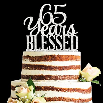 Amazon Glitter Silver Acrylic 65 Years Blessed Cake Topper
