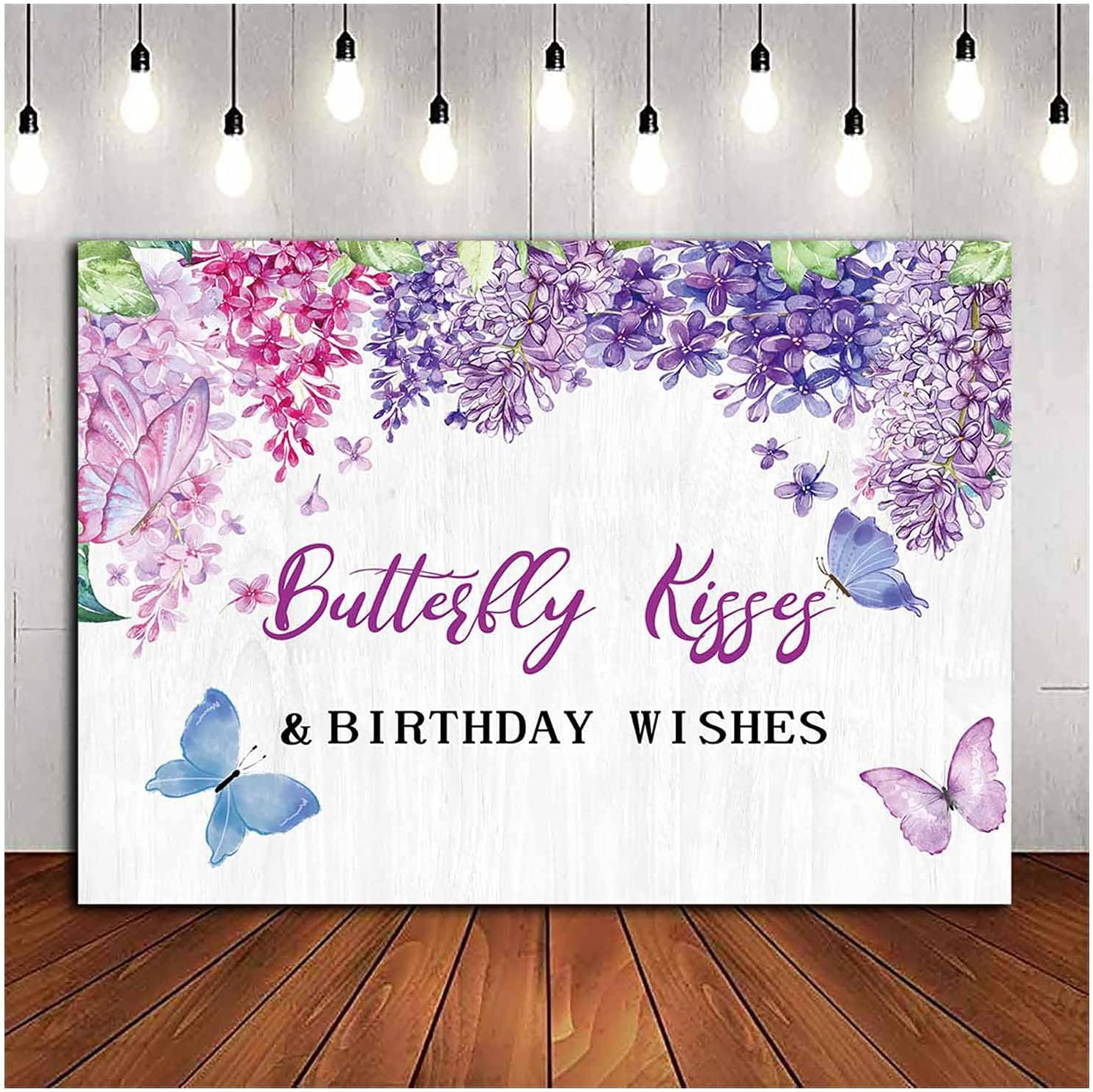 Purple Flower Butterfly Kisses and Birthday Wishes Theme Photography Backdrops Floral Garden Butterfly Birthday Party Photo Background Cake Table Banner 5x3ft