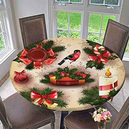 round table tablecloth vintage christmas classical religious objects candle bell mistletoe ribbon bird print multi for