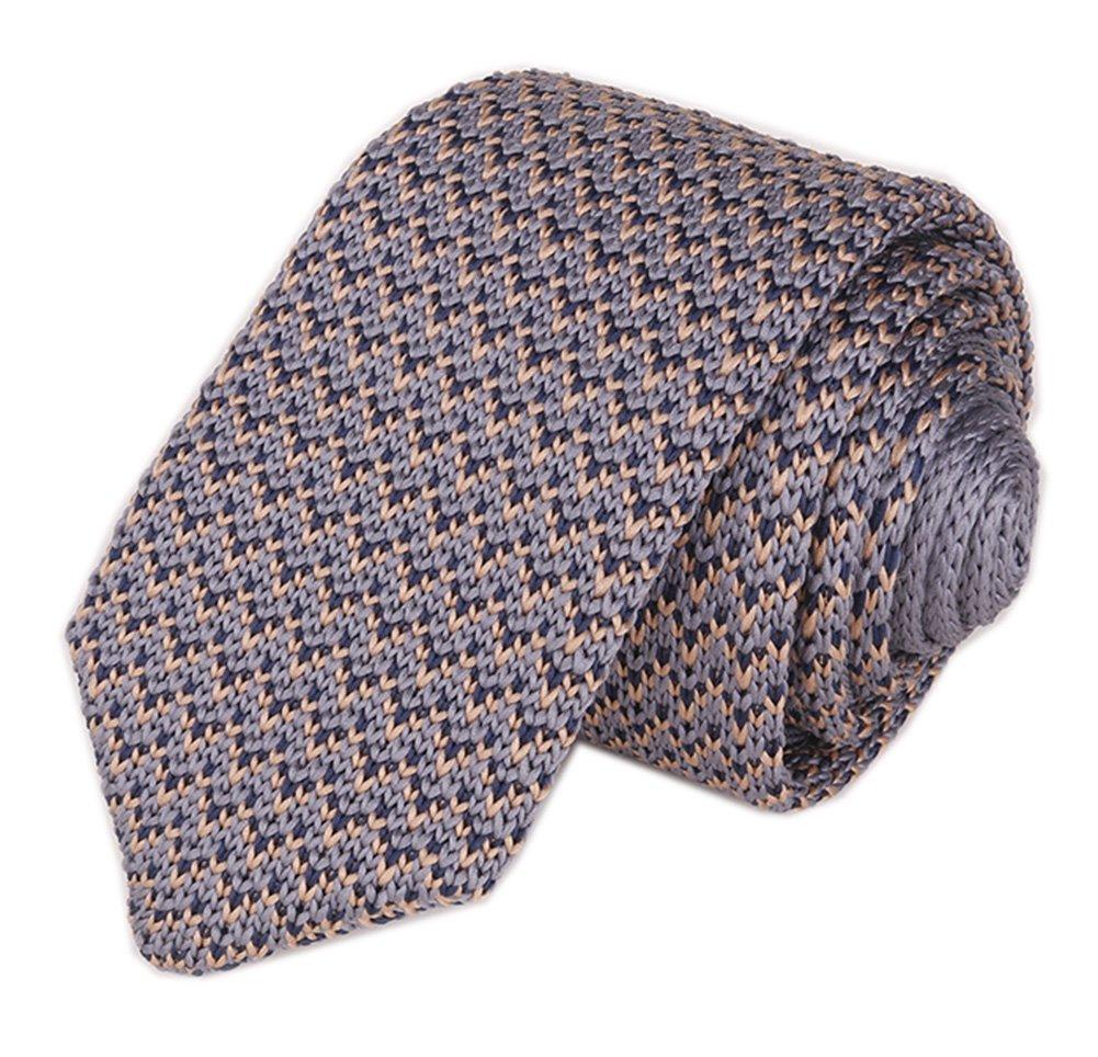 Men Classic Grey Tan Solid Color Woven Silk Tie Designer Cotton Necktie Neckwear