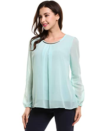 0fe8acfbd656a Asatr Women s Round Neck Chiffon Tops Long Sleeve Loose Pleated Shirt Formal  Career Blouse