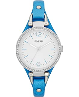 Fossil Georgia Silver Dial Blue Leather Strap Ladies Watch ES3470