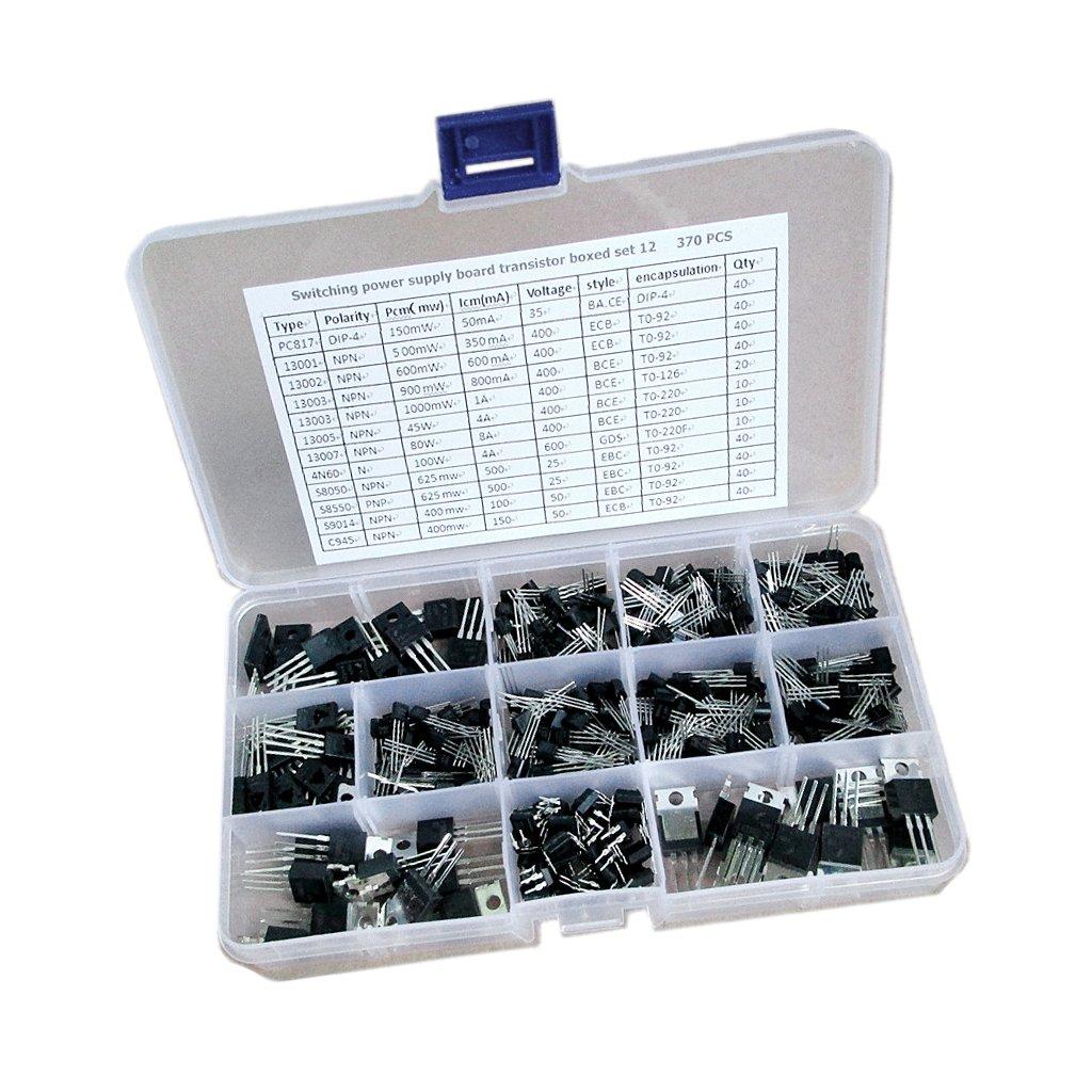 Jili Online Pack of 370pcs Plastic-Encapsulate Power Transistors Assortment Kit Box