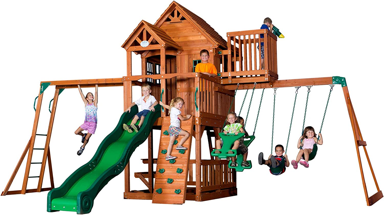 Backyard Discovery Playset Skyfort Wooden Swing Set
