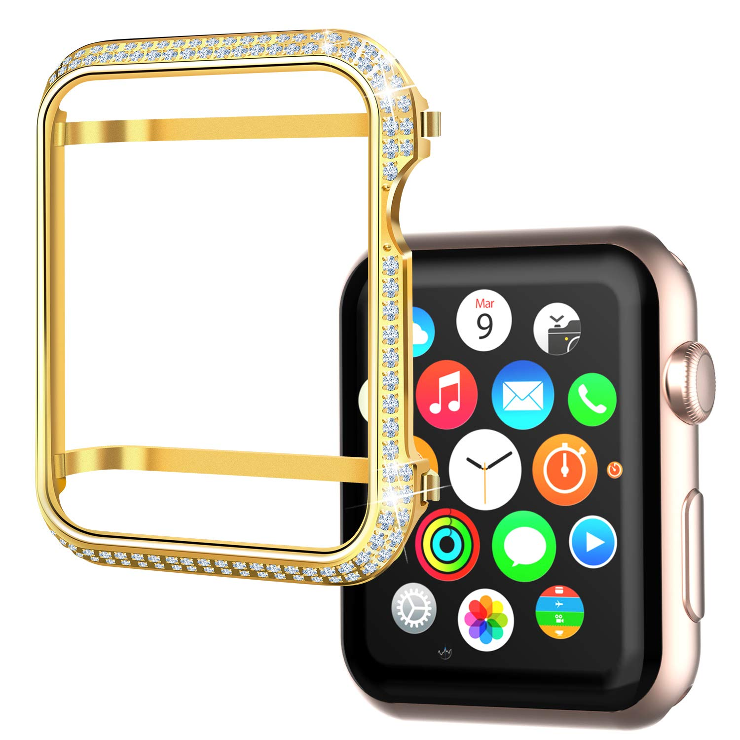 Srotek Diamond Watch Case Handcrafted Zircon Watch Bumper Gold-Plated 44mm Watch Bezel Cover Compatible with Apple Watch Series 4 for Men/Women (44mm,Gold)
