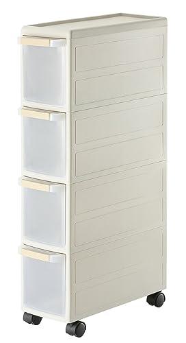 SoBuy® 4 Drawers Plastic Storage Drawer Unit on Wheels ...