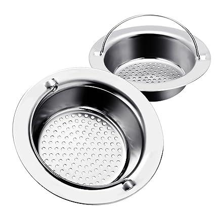 2pcs Filtro de acero inoxidable/Baban Colador de fregaderopara fregadero lavabo bañera,Diámetro exterior 11cm,Diámetro interno 8cm