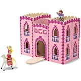 Melissa & Doug Fold & Go Princess Play Castle (Portable Wooden Dollhouse, 4 Play Figures, 4 Furniturepiece, Frustration…