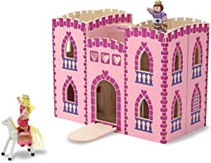 Melissa & Doug Fold & Go Princess Play Castle (Portable Wooden Dollhouse, 4 Play Figures, 4 Furniturepiece, Frustration-Free Packaging)