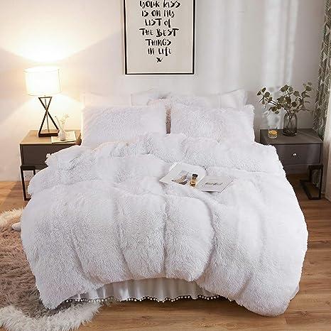 King, Gray 1 Faux Fur Duvet Cover + 2 Faux Fur Pillowcase XIYU Luxury Plush Shaggy Duvet Cover Set Ultra Soft Crystal Velvet Bedding Sets 3 Pieces