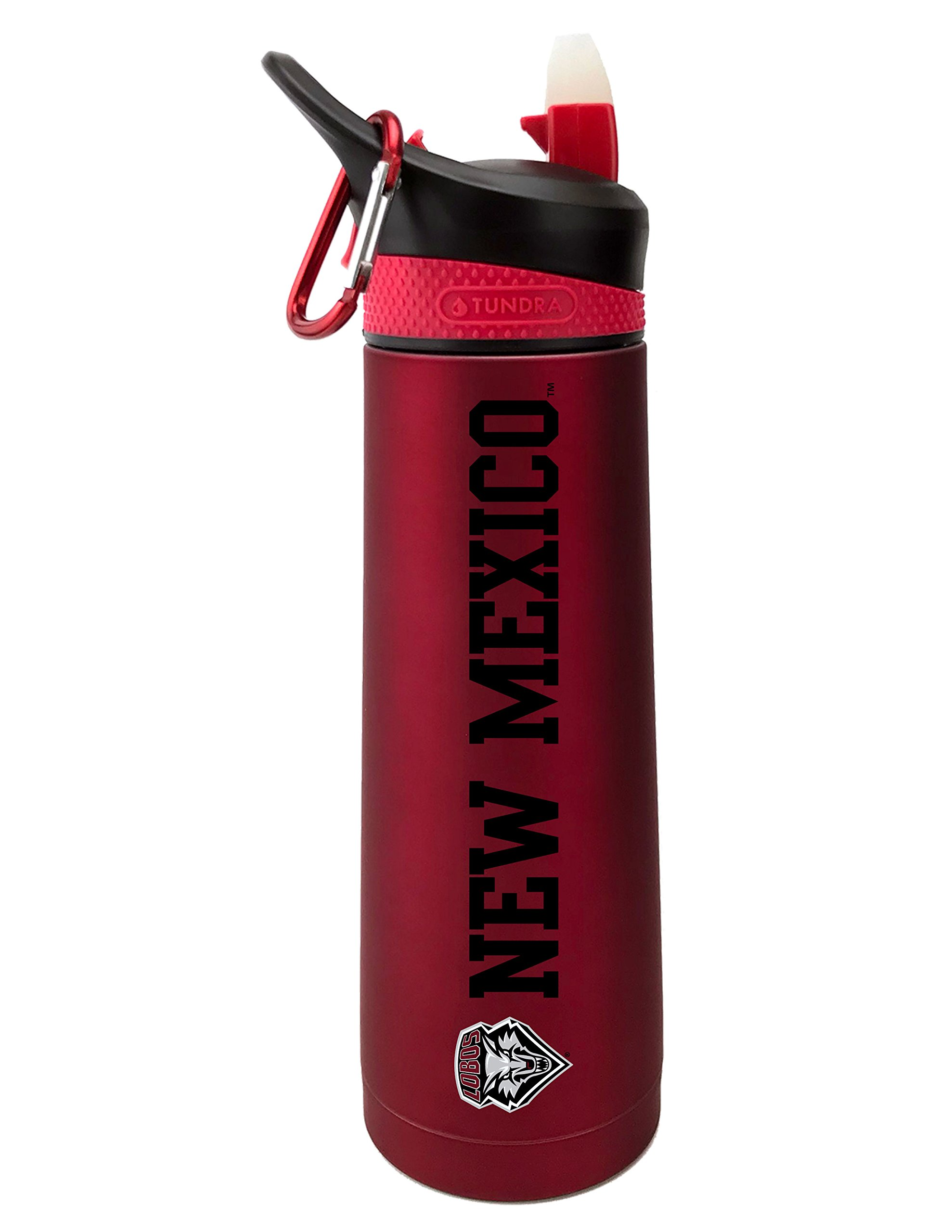 Fanatic Group University of New Mexico Dual Walled Stainless Steel Sports Bottle, Design 2 - Red