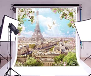 Vinyl 8x8ft Photography Background Romantic Paris Eiffel Tower City View Apple Trees and Pigeons Flowers Pattern Edge Blue Sky Scenery Portraits Shooting Video Studio Props Wedding Party