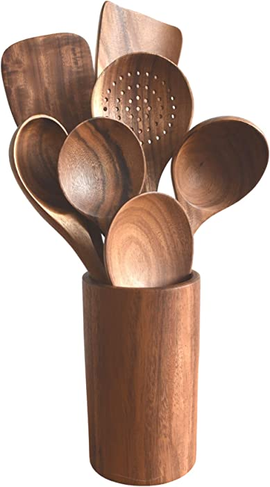Wooden Teak Kitchen Utensil Set for Cooking 7 Piece - Non Stick Spoons, Spatulas and Salad Fork, Natural and Eco Friendly