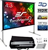 """Elite Screens Yard Master 2, 120 inch Outdoor Projector Screen with Stand 4:3, 8K 4K Ultra HD 3D Fast Folding Portable Movie Theater Cinema 120"""" Indoor Foldable Easy Snap Projection Screen, OMS120V2"""