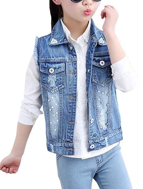 eefbbdb79 Amazon.com  MYtodo Girls Vest Kids Cowboy Pearl Denim Waistcoat Tops ...