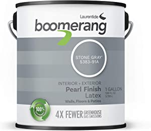 Boomerang Eco-Friendly Interior/Exterior Paint, Pearl Finish (Stone Grey)