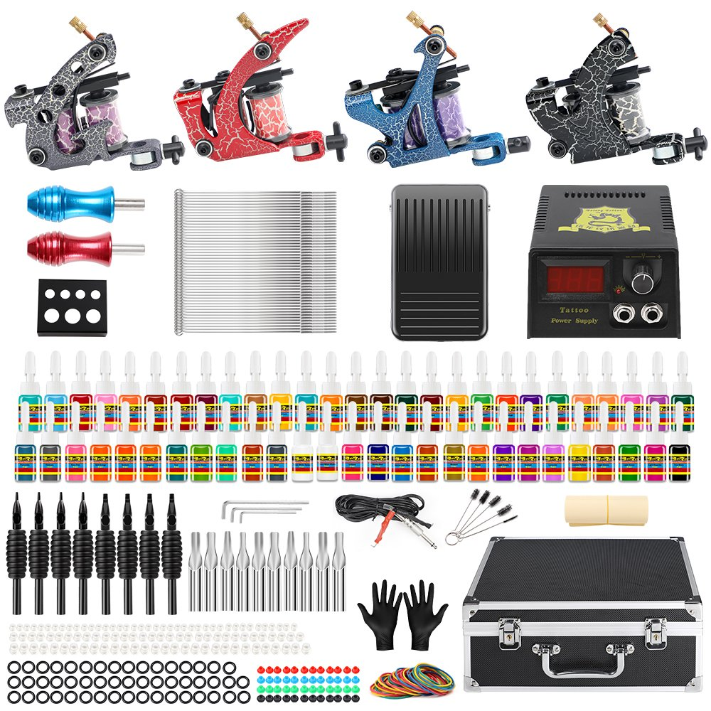 Solong Tattoo® Complete Starter Tattoo Kit 4 Tattoo Coil Machine Guns 54 Colors Inks with Carry Case Power Supply Foot Pedal Tattoo Needles Grips Tips Ink Cups TK456