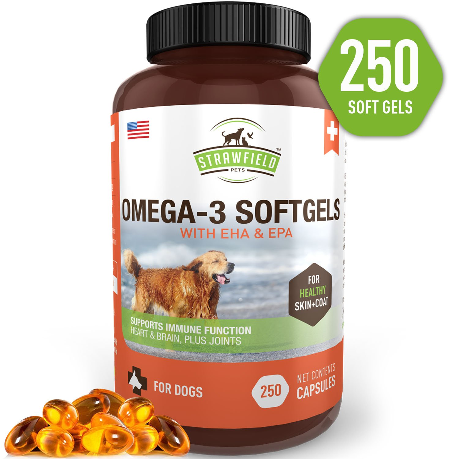 Omega 3 Fish Oil for Dogs, 250 Softgel Pills, 1000 mg EPA DHA Dog Fish Oil Pet Supplement for Joint Support Arthritis Pain Relief, Allergy Itch, Shedding, Healthy Coat, Dry Itching Skin, Hot Spot, USA by Strawfield Pets